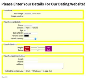 My Dating App HTML5 Form