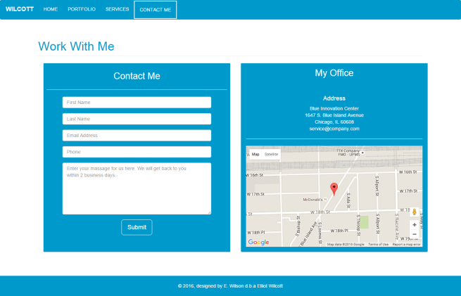 contact form on the left, map on the right