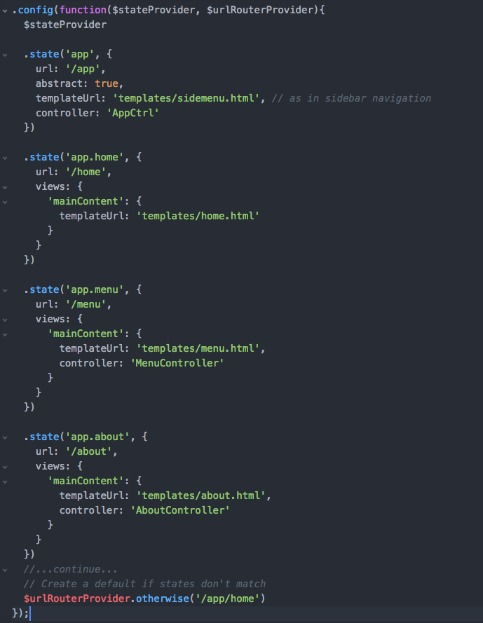 UI-router states within app.js file